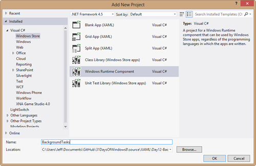 When you create a new project choose windows runtime component