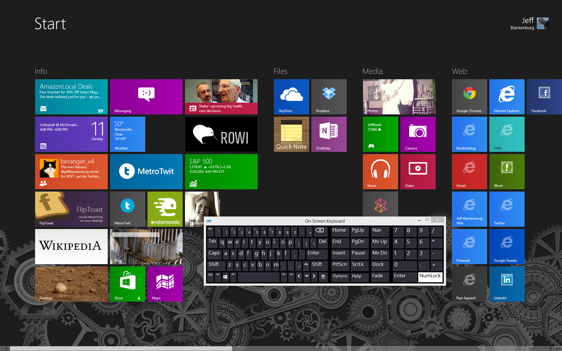 how to use the onscreen keyboard without a mouse