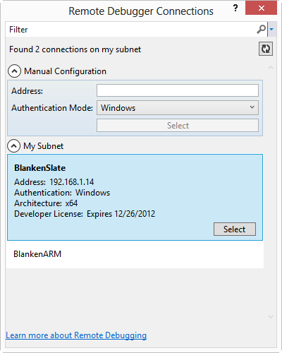 RemoteDebuggerConnections