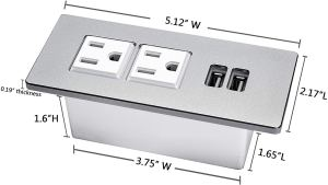 Outlet with dimensions.